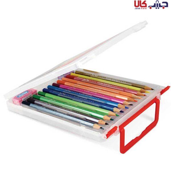 مداد رنگی 12 رنگ فکتیس با جعبه پلاستیکی به همراه تراش و پاک کن