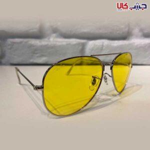 عینک UV400 ری بن طلایی فریم نقره ای