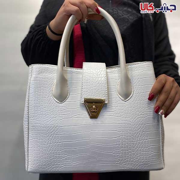 کیف زنانه سه خانه پوست ماری سفید