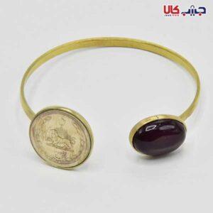 النگو دو قلو سکه و سنگ قهوه ای -طلایی کد E9074