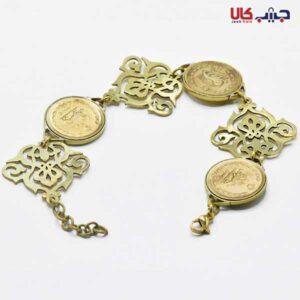 دستبند سکه و اسلیمی طلایی کد E9042