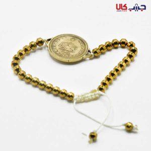 دستبند بافت سکه طلایی کد E9050