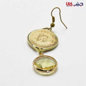 گوشواره سکه آویز کریستال شیشه ای شفاف طلایی کد E9035