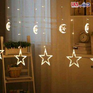 ریسه طرح ماه و ستاره LED آویز (پرده ای)